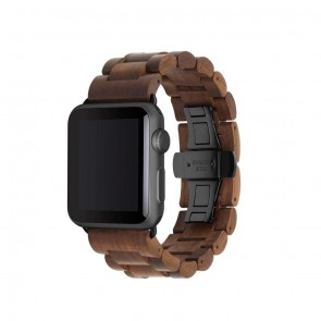 Woodcessories EcoStrap - Wooden Apple Watch Band (38mm)Walnut/ black (Stainless Steel) for Apple Watch (38mm)