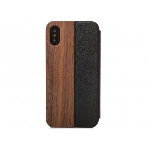 Woodcessories EcoFlip - iPhone Echtholz FlipCase Walnut/Leather/ Hardcover for iPhone X