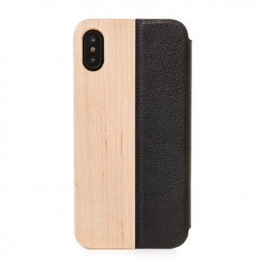 Woodcessories EcoFlip - iPhone Echtholz FlipCase Maple/Leather/ Hardcover for iPhone X
