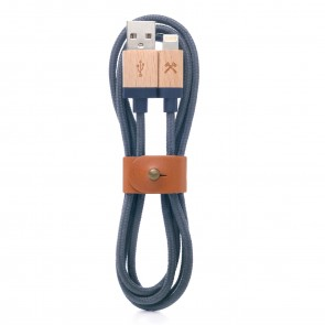 Woodcessories EcoCable - Wooden Lightning Cable (Mfi Apple certified) Walnut/ navy blue braided Nylon for all Lightning Products