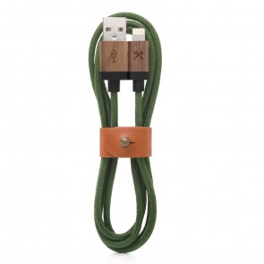 Woodcessories EcoCable - Wooden Lightning Cable (Mfi Apple certified) Walnut/ green Nylon for all Lightning Products