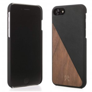 Woodcessories EcoCase - EcoSplit Walnut/Black Leather (vegan) for iPhone 7/8