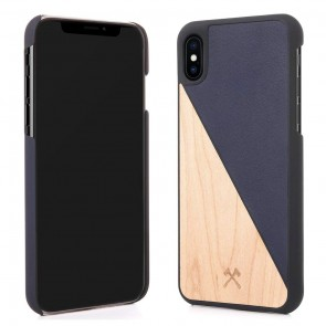 Woodcessories EcoCase - EcoSplit Maple/Navy Blue Leather (vegan) for iPhone 7/8