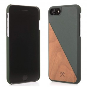Woodcessories EcoCase - EcoSplit Cherry/Green Leather (vegan) for iPhone 7/8