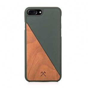 Woodcessories EcoCase - EcoSplit Cherry/Green Leather (vegan) for iPhone 7/8 Plus