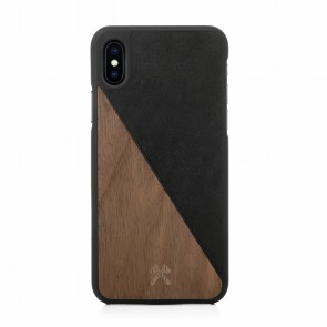 Woodcessories EcoCase - EcoSplit Walnut/Black Leather (vegan) for iPhone X
