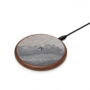 Woodcessories EcoPad - Stone/Wooden Wireless Charger (with 1.2m USB Cable) Walnut Wood / Real Stone / Brushed Metal / Nylon Cable