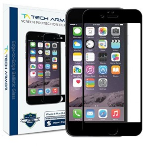 "Tech Armor ELITE Ballistic Glass Screen Protector Edge-to-Edge for iPhone 6/6s PLUS (5.5"") - Black"