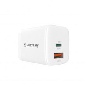 SwitchEasy PowerBuddy Wall Charger 20W Dual Port (USB-C/USB-A) White