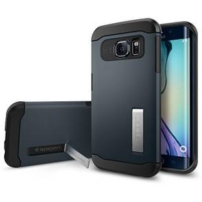 Galaxy S6 Edge Case, Spigen [AIR CUSHION] Slim Armor Case for Samsung Galaxy S6 Edge [KICK-STAND] - Metal Slate (SGP11426)