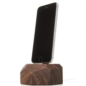 Woodcessories EcoDock - Wooden iPhone DockSolid Walnut Wood for all Lightning iPhones (compatible with original Lightning cable)