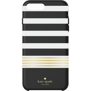 kate spade new york Protective Hardshell Case (1-PC Comold) for iPhone 7 Plus - Stripe 2 Black/White/Gold Foil