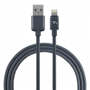 Tech Armor 8 pin Lightning USB cable, 2 ft, braided, space grey