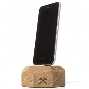 Woodcessories EcoDock - Wooden iPhone DockSolid Oak Wood for all Lightning iPhones (compatible with original Lightning cable)