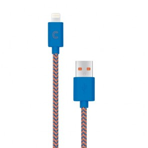 CandyWirez 3 Ft Nylon Braided Lightning Cables - Navy/Orange
