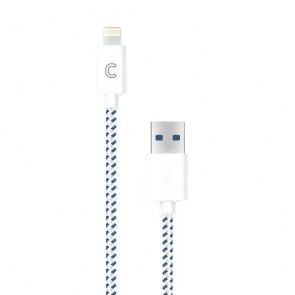 CandyWirez 3 Ft Nylon Braided Lightning Cables - White/Navy