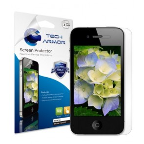 Tech Armor HD Clear Screen Protectors with Lifetime Warranty for Apple iPhone 4 and 4S (3-Pack)