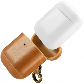 intelliARMOR CarryOn Hand Made Leather AirPod Case Camel