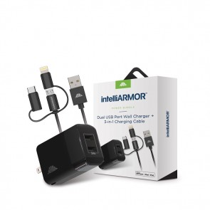 intelliARMOR Charging Bundle - 2 Port USB Wall Charger & 3-in-1 Cable 3 Ft (MFI)