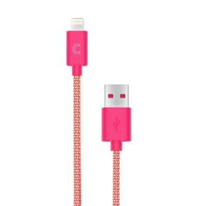 CandyWirez 3 Ft Nylon Braided Lightning Cables - Orange/Pink