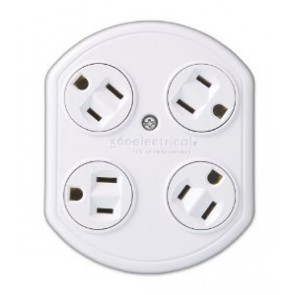 360 Electrical 4 Outlet Rotating Adapter