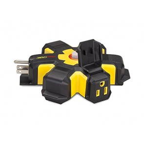 360 Electrical Pro Heavy Duty 5 Outlet Hub with Hexacore, Black/Yellow
