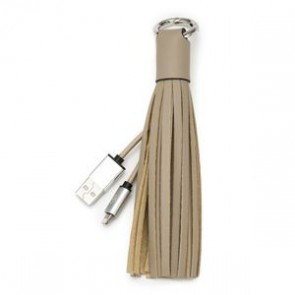 Chic Buds Tassel Cable with MicroUSB Connector - Taupe
