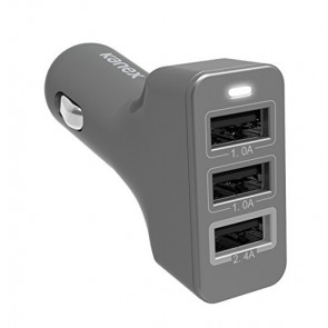 Kanex 4.4 A 3-port USB Car Charger - Space Gray