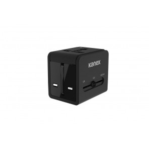 Kanex 4-in-1 International Power Adapter with 2 x USB - Black