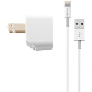 Kanex 1-Amp USB Wall Charger + 4ft Apple Certified Charge/Sync Lightning Cable - White