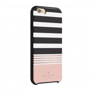 kate spade new york Hybrid Hardshell Case for iPhone 6/6s – Stripe 2 Black/White/Coral/Rose Gold Foil