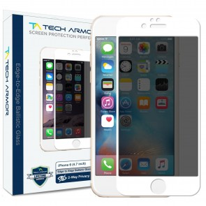 Tech Armor ELITE Edge to Edge Flat Glass with built in 4-way PRIVACY Film for iPhone 6/6s - White