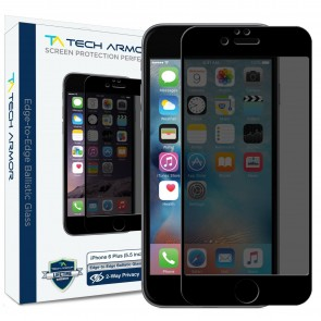 Tech Armor ELITE Edge to Edge Flat Glass with built in 4-way PRIVACY Film for iPhone 6/6s Plus - Black