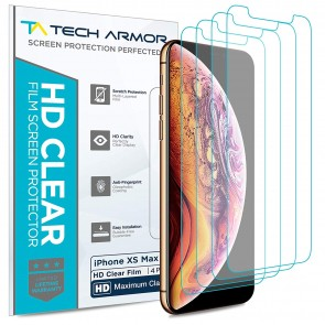 Tech Armor HD Clear PET Screen Protector for iPhone Xs Max - 4-pack