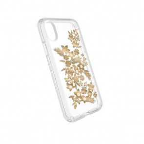 Speck iPhone X/Xs Presidio Clear + Print - Shimmer Floral Metallic Yellow/Clear