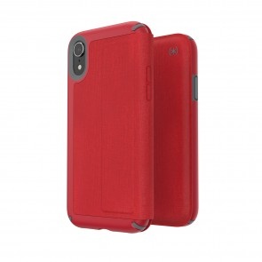 Speck iPhone XR PRESIDIO FOLIO HEATHERED HEARTRATE RED/HEARTRATE RED/GRAPHITE GREY