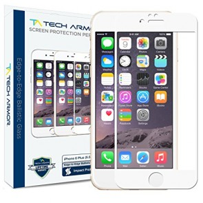 "Tech Armor ELITE Ballistic Glass Screen Protector Edge-to-Edge for iPhone 6/6s PLUS (5.5"") - White"