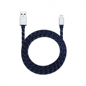 Just Mobile AluCable Flat [braided] Deluxe Lightning Cable Blue Silver (4-ft/1.2 m)