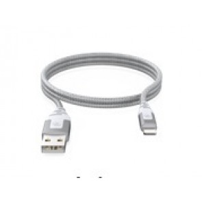 GeoSWISS Armored Sync/Charge Lightning Cable (1.8m/6 ft.) Silver