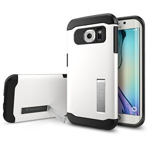 Galaxy S6 Edge Case, Spigen [AIR CUSHION] Slim Armor Case for Samsung Galaxy S6 Edge [KICK-STAND] - Shimmery White (SGP11424)