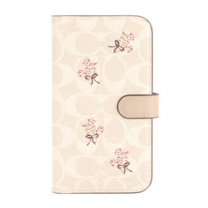 Coach Folio Case for iPhone 12 & iPhone 12 Pro - Floral Bow Signature C Sand/Multi Printed/Glitter Accents