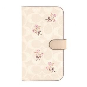 Coach Folio Case for iPhone 12 mini - Floral Bow Signature C Sand/Multi Printed/Glitter Accents