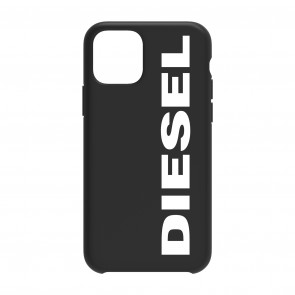 Diesel 2-in-1 Folio Case for iPhone 11 Pro Max - Black Leather/White Vertical Logo