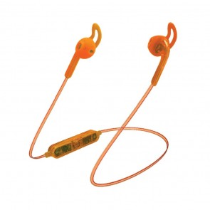 Candywirez Wireless Flat Translucent Ear Buds - Neon Orange