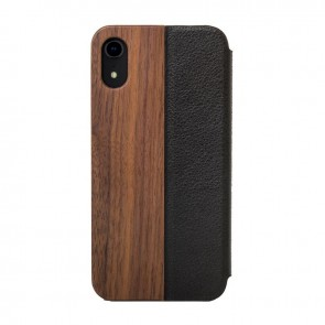 Woodcessories EcoFlip - iPhone Real Wood FlipCase - Donald Walnut/Leather/ Hardcover for iPhone Xr