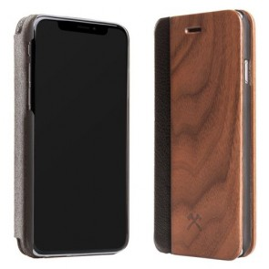 Woodcessories EcoFlip - iPhone Real Wood FlipCase - Donald Walnut/Leather/ Hardcover for iPhone Xs Max