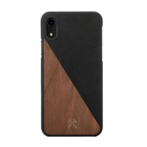 Woodcessories EcoCase - EcoSplit Walnut/Black Leather (vegan)  for iPhone Xr