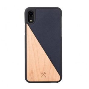 Woodcessories EcoCase - EcoSplit Maple/Navy Blue Leather (vegan) for iPhone Xr