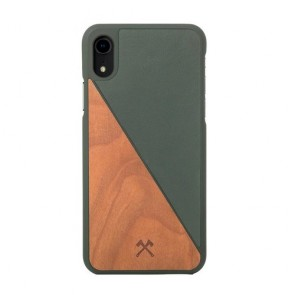 Woodcessories EcoCase - EcoSplit Cherry/Green Leather (vegan) for iPhone Xr