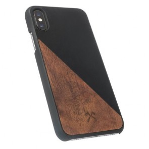 Woodcessories EcoCase - EcoSplit Walnut/Black Leather (vegan)  for iPhone Xs Max